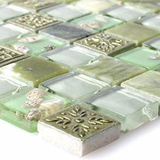 Glasmosaik Natursteinfliesen Tatvan Muschel Grün