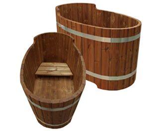 bambus-discount Holzbadewanne mit Sitzbank