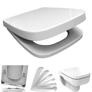 WC-Sitz mit Absenkautomatik, eckig, weiß, antibakteriell