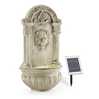 blumfeldt Löwenstein Gartenbrunnen mit LED, Naturstein-Optik, grau