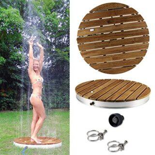 @tec Gartenduschem Teak-Holz, rund, mit Bodenplatte