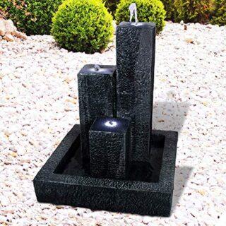 Wasserspiel für Garten, Gartenteich, LED-Licht TRIO-BASALT-230V