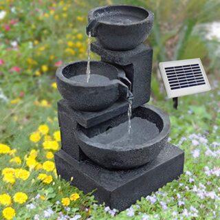 AMUR Solarbrunnen, Wasserspiel für Garten