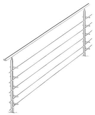 Geländer, Edelstahl, 160 cm, 5 Streben