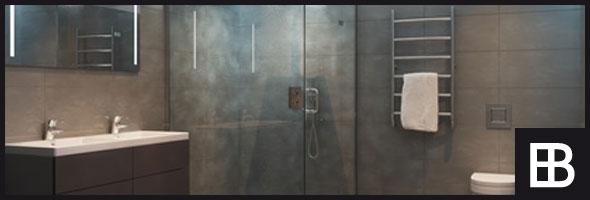 Schöne Glasabtrennung für die Dusche